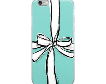 Teal Bow- Iphone case x, Iphone 6 case, Iphone 6s case, Iphone 8 case, Iphone 7 Case