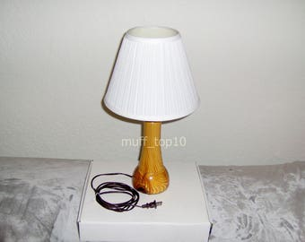 "Handcrafted 18"" Table Lamp Reclaimed Solid Heart Pine Wood with Shade One of A Kind"