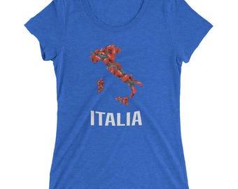 Ladies' Map Of Italy in Tomato T-Shirt - Italian Pomodoro Shirt