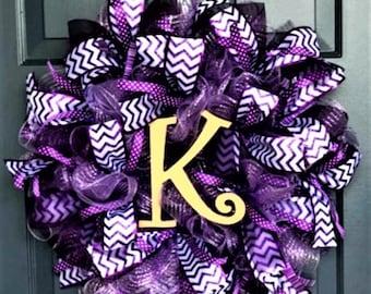 Purple Monogram Mesh Front Door Wreath, Purple Wedding Wreath, Monogram Wreath, Mothers Day Wreath, Purple Wreath, Lavender Wreath, Monogram