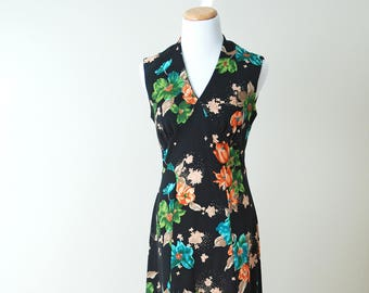 Black Floral Maxi Dress // Vintage Long V-Neck Sleeveless Dress // Cami Originals by Leboff Montreal Canada
