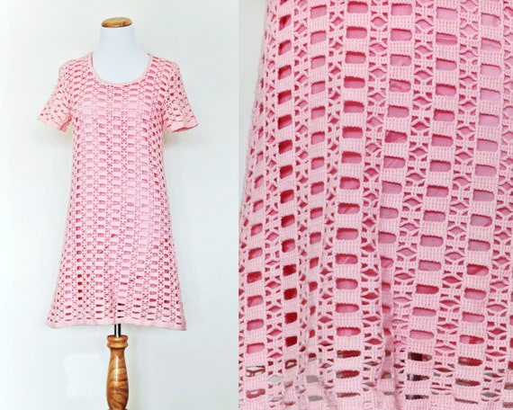 vintage Women's PINK CROCHETED DRESS || Golden Spi