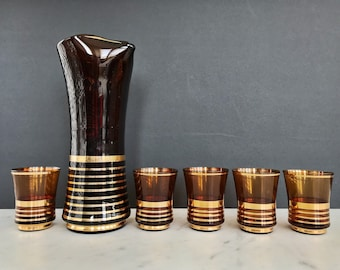 Vintage Gold Striped Amber Glass Pitcher with 5 Matching Tumblers