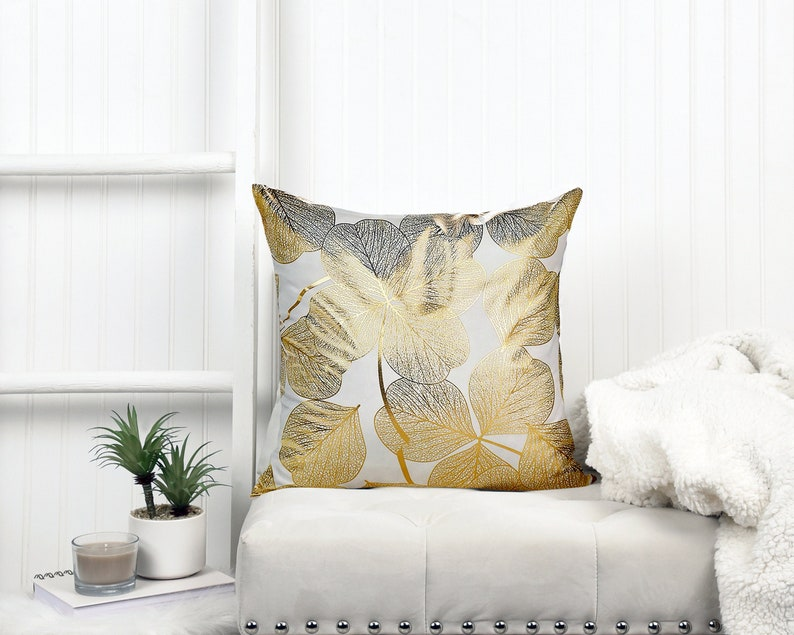 Gold Foil Pattern Cushion Cover 18 x 18