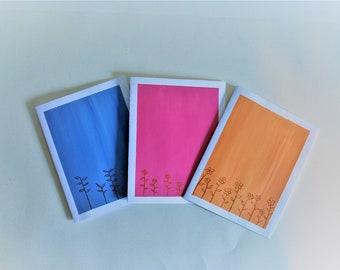 Set of 3 handpainted Blank Greeting Cards