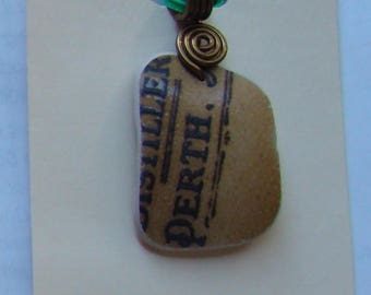1880s dump pottery shard recycled to pendant / necklace unique !!