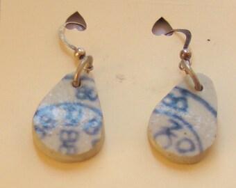 Pretty little ear rings, recycled 1880s UK dump pottery !!