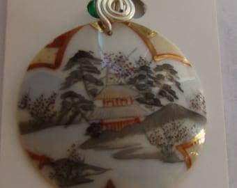 Lovely Asian scene recycled dump pottery shard pendant / necklace !!