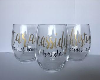 Bridesmaid wine glasses | Etsy