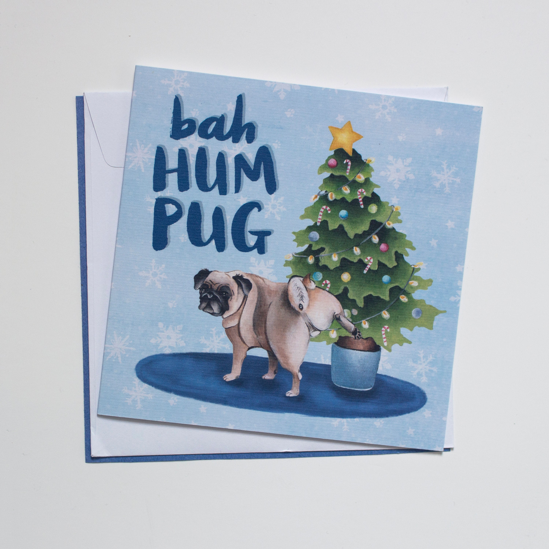 Bah Hum Pug Dog Themed Christmas Cards illustration pug | Etsy