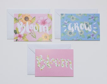 Bloom and Grow - Pack of 3 Illustrated Prints or Greetings Cards