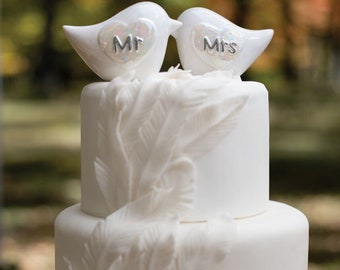 Porcelain Love Birds Cake Top- Wedding, Bridal Shower, Anniversary Cake Topper