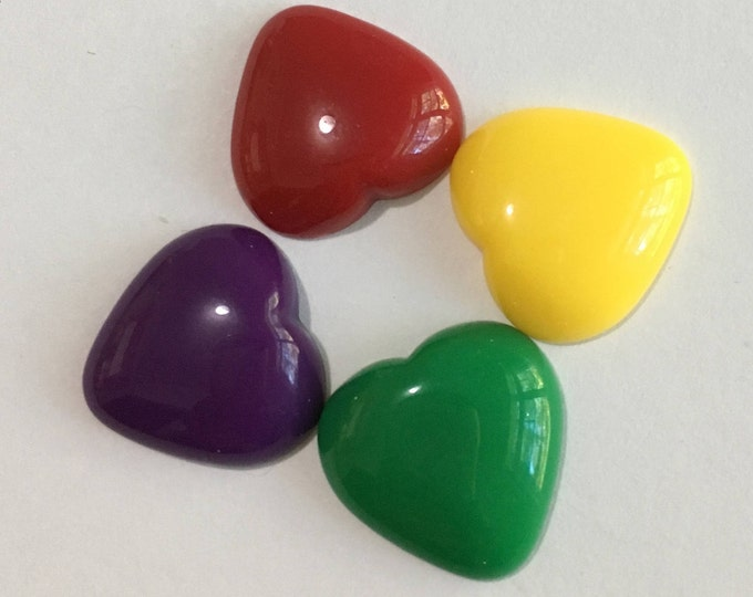 18mm Heart Resin Cabochons Mixed Colors DIY Jewelry Making Findings.