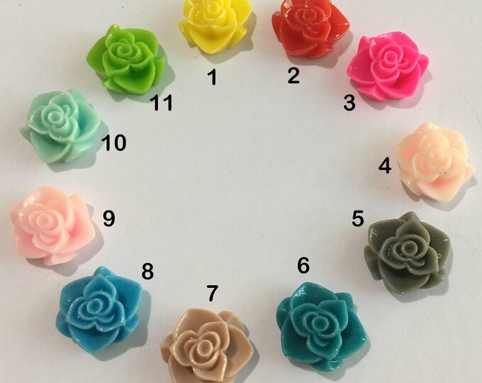 15x7mm Resin Flower Cabochons, Mixed Color, 15x7mm DIY Jewelry Making Findings 25Pcs