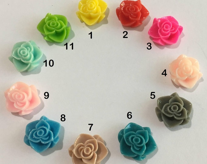 15x7mm Resin Flower Cabochons, Flower, Mixed Color, DIY Jewelry Making Findings 50Pcs.