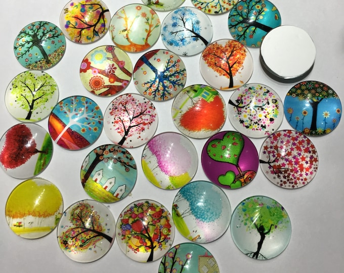 25mm Printed Half Glass Cabochons, Tree of Life Mixed Color, DIY Jewelry Findings 10 Pcs