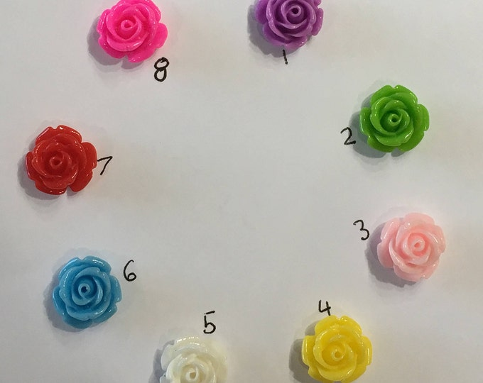 14mm Resin Cabochon Mixed Color Rose Flower DIY Jewelry Findings.
