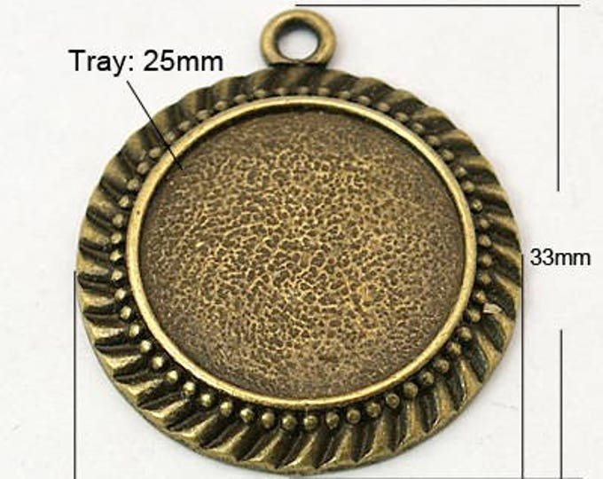 25mm Bronze Cabochon Setting Pendant Bezel Tray Antique Bronze Round Inner Tray DIY Findings for Jewelry Making 5pcs/ 10Pcs.