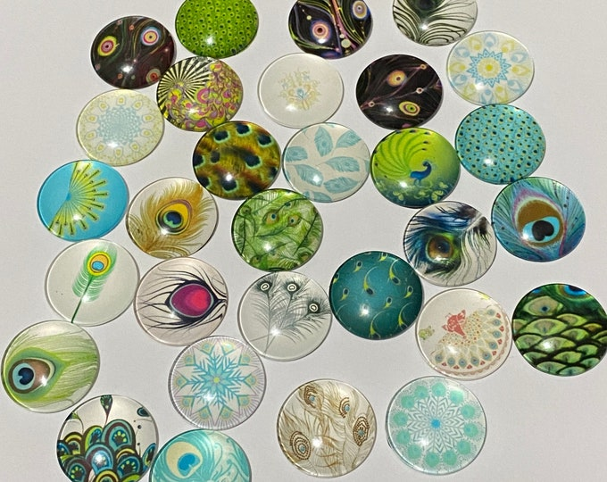 25mm Printed Cabochons Feather Pattern Glass Half Round/Dome, Mixed Color, DIY Jewelry Findings.