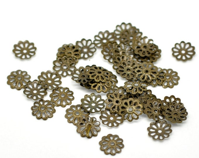 10mm Bead Caps  hole: 1mm Antique Bronze DIY Jewelry Making Findings.