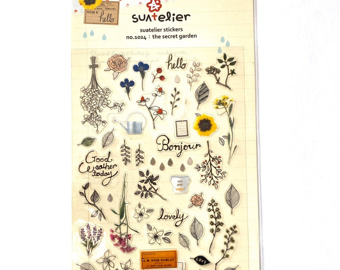 Garden stickers Craft Sticker Sheet for Planning, Journaling, Collecting or Scrap booking 1 Sheet.