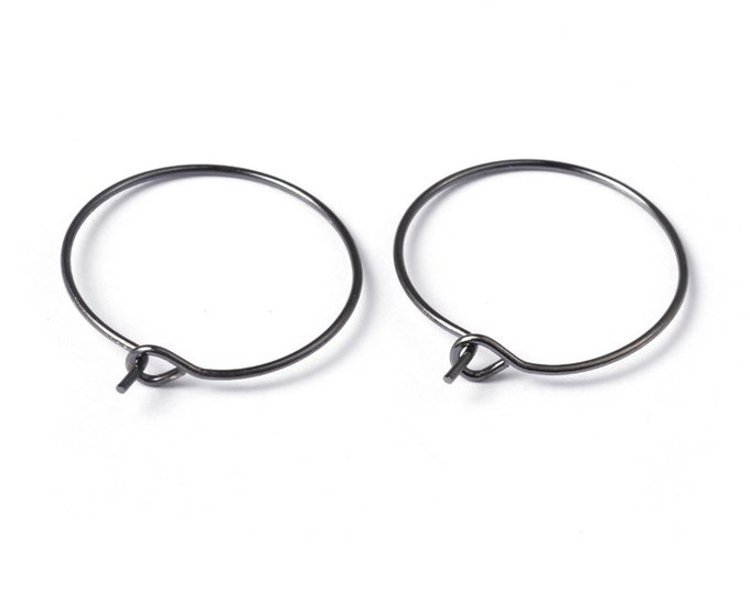 20mm Earrings Hoops Black Gunmetal DIY Jewelry Making Findings.