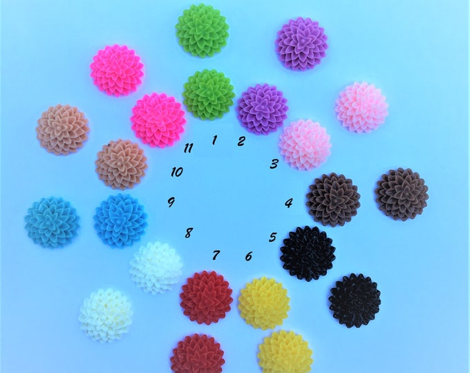 15mm Resin Mum Cabochons Mixed Color Mum Flower DIY Jewelry Findings.