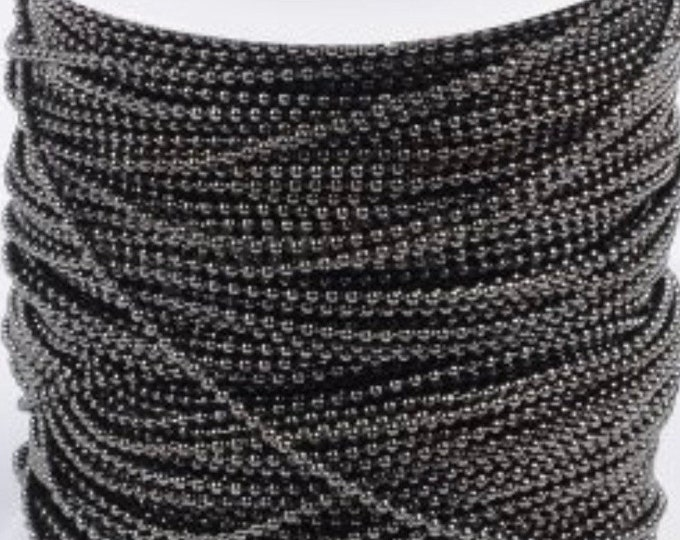 1.5mm Ball Chains Gunmetal Finding diameter with Connectors Black Color DIY Jewelry Making Supplies Findings