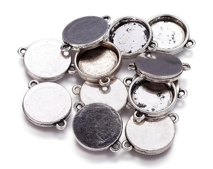 15mm Connectors Round Cabochon Setting Inner Tray Antique Silver Bezel Tray DIY Jewelry Findings.