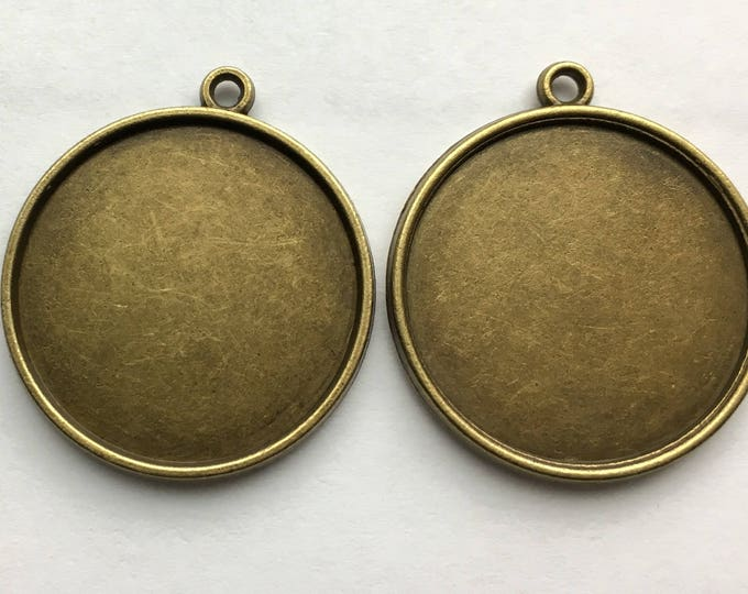 25mm Pendant Double Sided Bronze Round Bezel Setting  1 Inch Tray, DIY Jewelry Making Pendant Bracelet Necklaces 10pcs