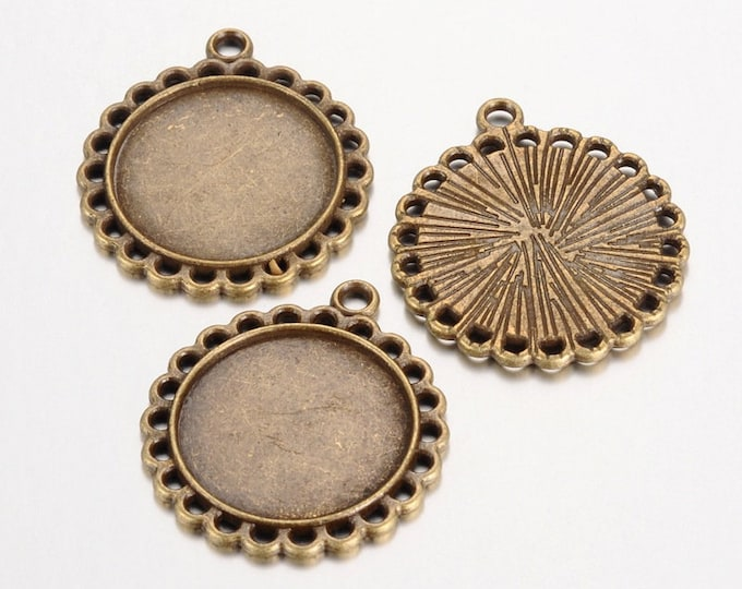 20mm Cabochons Pendant Antique Bronze Tray Setting Bezel Trays DIY Jewelry Findings.