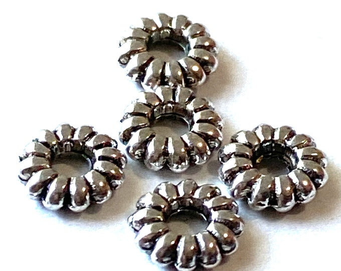 6.5mm Spacer beads Hole;2mm Antique Silver DIY Jewelry Making Supplies  Findings.