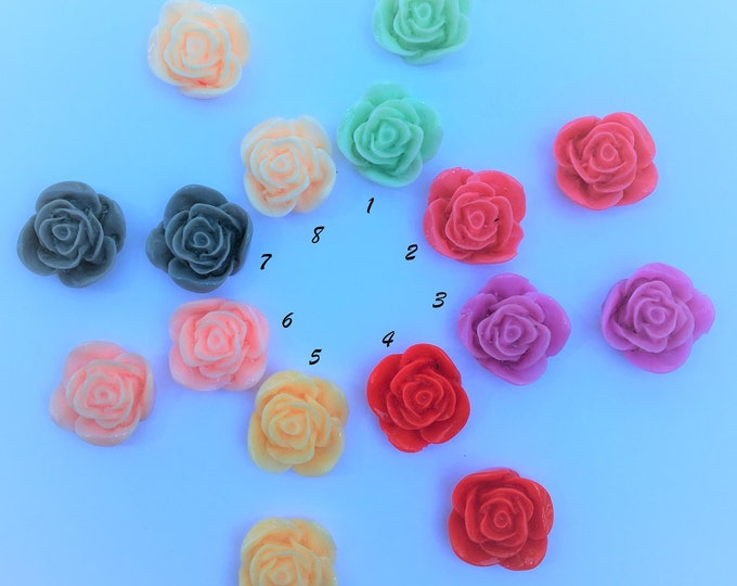 22x12mm Resin Flower Cabochon, Mixed Color Rose Flower DIY Jewelry Findings.