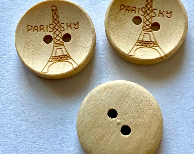 20mm Buttons Paris Sky Flat Round 2-Hole Wooden Buttons DIY Craft Supplies Findings.