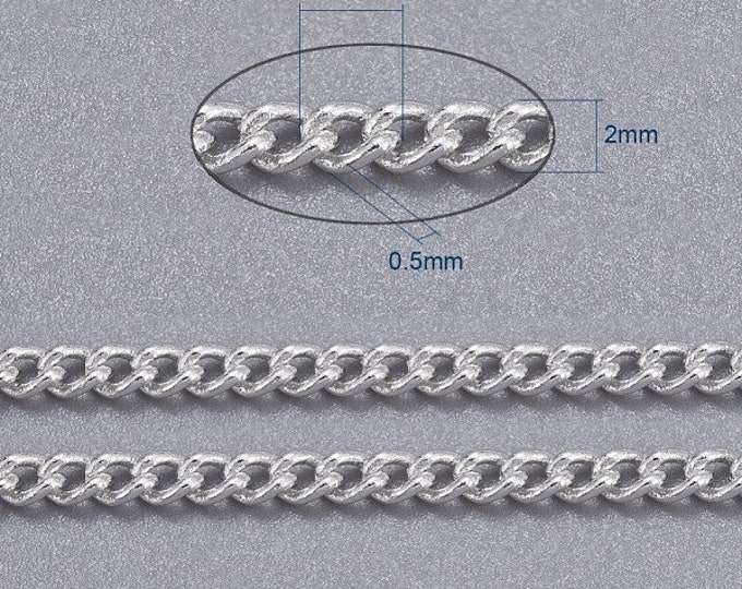 2.5x2mm Twisted Curb Chains Sliver Color Plated, with Spool Oval DIY Jewelry Making Findings.