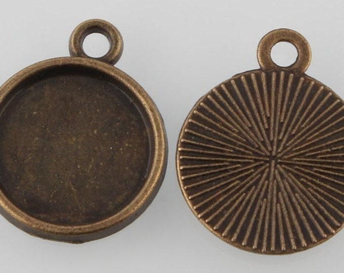 20mm Cabochon Settings Pendant Bezel Tray Inner Tray bronze DIY Findings for Jewelry Making.