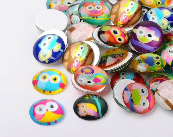 12mm Owl printed Cabochon Half Round Dome Glass Cartoon Owl Printed Mixed Color, DIY Jewelry Findings