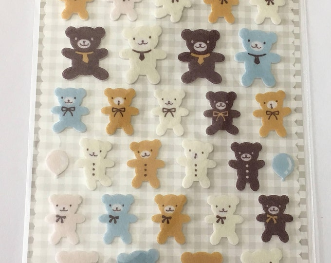 Funny Teddy Bear Stickers 34 pcs, DIY Craft Supplies Findings.1 Sheet
