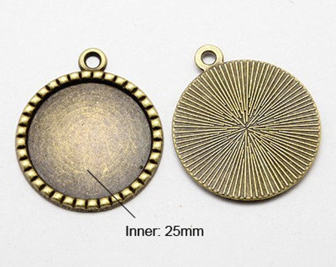 25mm Bronze Pendant Round Cabochon Setting Bezel Tray Antique Bronze Inner Tray DIY Findings for Jewelry Making.