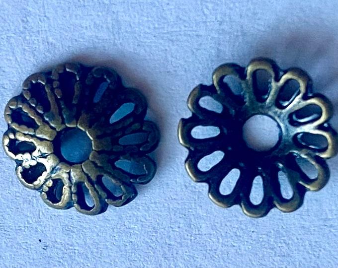 12mm Beadcaps Flower Antique bronze DIY Jewelry Making Findings.