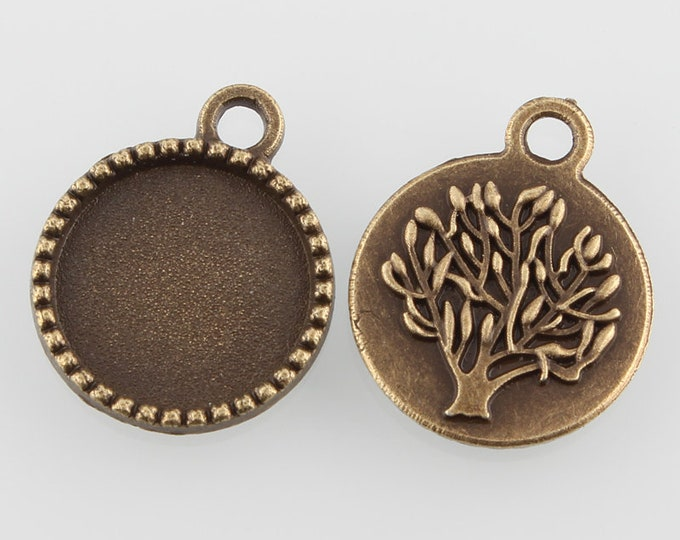 14mm Pendant Tree Flat Round Cabochon Setting Antique Bronze Bezel Tray Inner Tray DIY Findings for Jewelry Making.