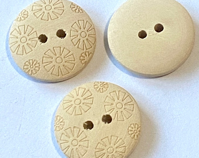 20mm Buttons Beige Flat Round 2-Hole Wooden Buttons DIY Craft Supplies Findings.