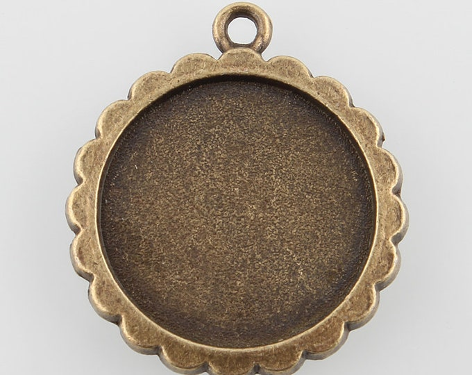20mm Pendant Cabochon Setting Antique Bronze Flat Tray DIY Jewelry Making Supplies and Findings.