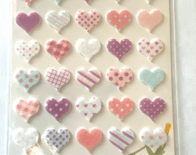 Heart shape stickers Craft Sticker Sheet for Planning, Journaling, Collecting or Scrap booking 1 Sheet.