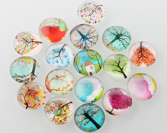 25mm Printed Half Glass Cabochons, Tree of Life Mixed Color, DIY Jewelry Findings.