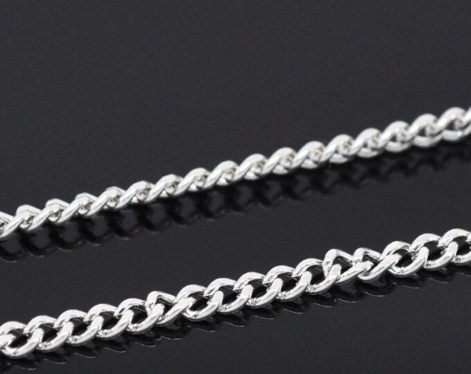 Curb Chain 3.7x2.5mm  Silver Opened Twisted Chains Curb Chains, 10ft / 32ft DIY Jewelry Making Findings.