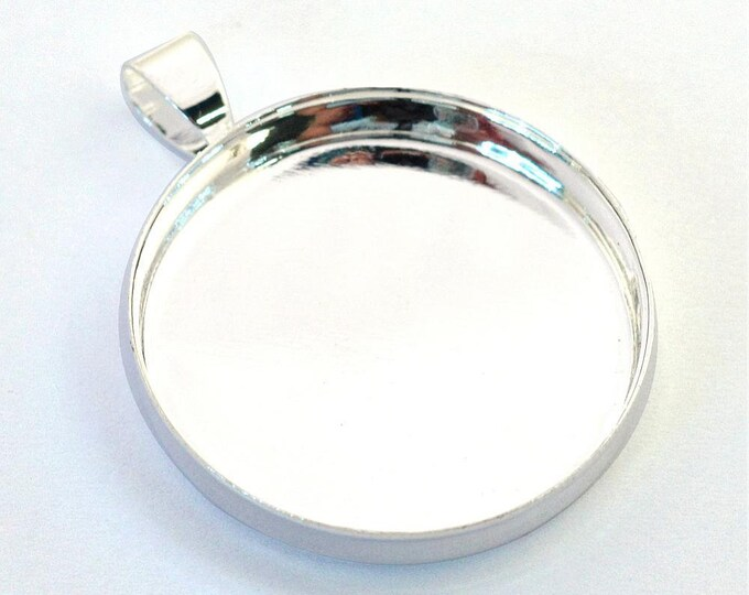 25mm Silver Pendant Cabochons Settings  Bezel Tray, DIY Jewelry Findings.