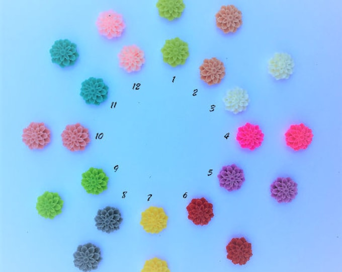 15mm Resin Flower Cabochon Mixed Color Mum Flower DIY Jewelry Findings.