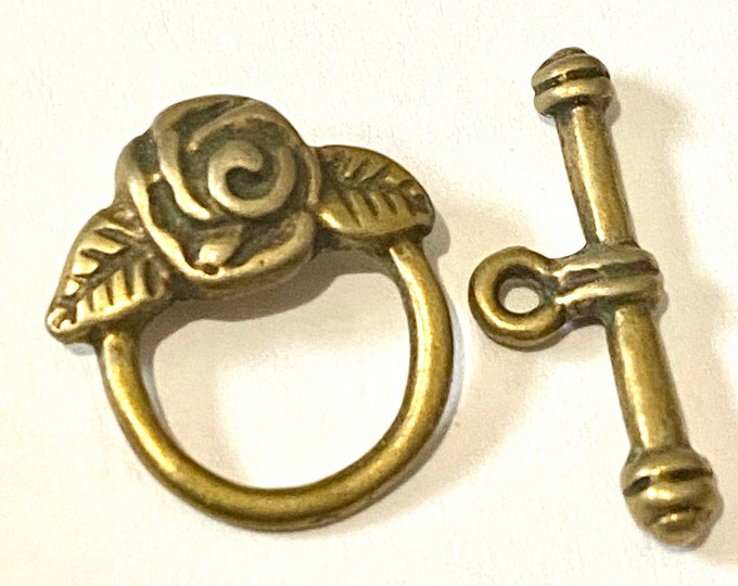 18mm Toggle Rose Clasps Antique Bronze Round DIY Jewelry Making Supplie  Findings.
