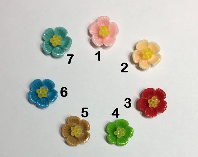 16mm Resin Flower Cabochons Mixed Color Blossom Flower  DIY Jewelry Findings.